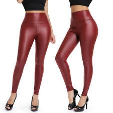 Women High Waist Faux Leather Leggings Slim Pants Warm Velvet Pencil Trousers G2
