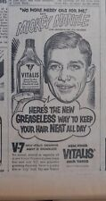 1953 newspaper ad for Vitalis - Mickey Mantle New York Yankee, no messy oils