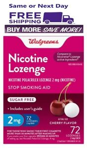 Walgreens Nicotine Lozenge 2 Mg 72 Count Cherry Flavor Compared to Nicorette