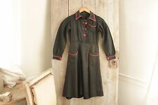 Children's girls dress Vintage French style c 1940's cotton blue red