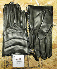 COACH Womens Leather Gloves Black 100% Silk Lined Quilted Zipper 82822 / Sz 6.5