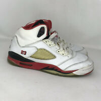 Nike Boys Air Jordan V Retro 134092-162 White Red Black Sneakers Shoes Size 7 Y