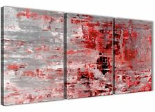 3 Panel Red Grey Painting Office Canvas Accessories - Abstract 3414 - 126cm