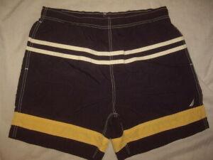 Vintage Nautica Swim Trunks Blue/Yellow/White Mesh Brief Liner Men's Size Medium