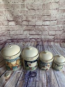 Lot Of 4 Susan Winget Country Canister Cookie Jars Soft Plastic Gasket Seal