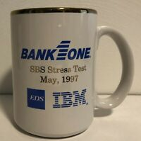 "IBM Testing Services 4"" Gold Rimmed Coffee Mug Vintage Bank 1 One"