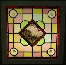 """VICTORIAN ENGLISH LEADED STAINED GLASS WINDOW Painted Water Scene 20.25""""x 20.25"""""""