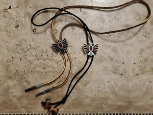 Lot of 2 VTG NATIVE AMERICAN THUNDERBIRD BOLO TIE Western Cowboy Style VG COND.