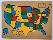 VINTAGE Wood USA Puzzle Map with Capitals