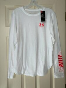 NWT Under Armour RALLY Women's Large White Long Sleeve T-shirt