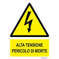"""Cartelli di Sicurezza UNI7543 /""""Alta Tensione Pericolo di Morte/"""""""