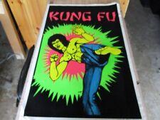 Vtg. 1970's Bruce Lee martial arts blacklight flocked poster 35 X 23 one stop