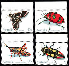 INSECTS Moth, Bug, Grasshopper, Beetle. Clean 1991 set of 4 MNH • FREE POSTAGE
