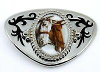 Horse Belt Buckle Silvertone Western Wear Equestrian Gift for Cowboy or Jockey