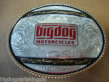 BIG DOG MONTANA SILVERSMITH BELT BUCKLE RED LOGO GOLD/SILVER/BLACK BARB WIRE