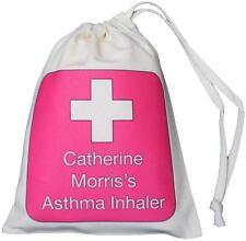 Rosa Personalizzata Inalatore per asma Incrociate & Spacer Bag - 14x20cm con coulisse vuoto