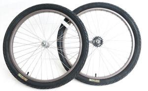 "24"" Coaster Brake Wheelset + Tires Kids Single Speed Cruiser Bike 3/8"" Axle NEW"