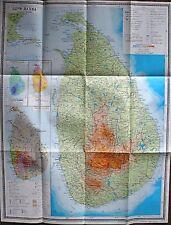 Vintage Soviet Wall Map Sri Lanka Moscow 1980 M 1:750 000
