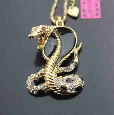 Betsey Johnson Crystal Enamel snake Pendant Sweater Chain Necklace
