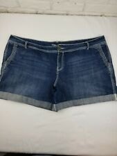 Maurices Denim Shorts Womens 24 Stretch Blue Jean Thick Thread Cuffed