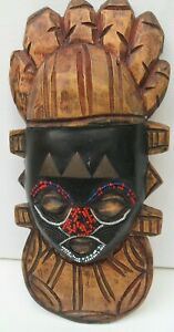 """Wooden Mask/Sculpture Hand Carved Tribal Art Wall Hanging 10.5"""" x 4.5"""""""