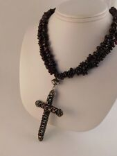 NATURAL GARNET STERLING CROSS PENDANT NECKLACE DOUBLE STRAND BEADS 198 GRAMS