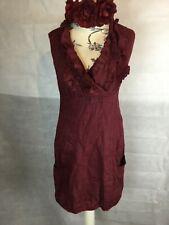RED LINEN DRESS, BOHEMIAN, HIPPY LAGENLOOK