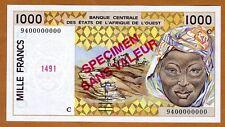 SPECIMEN West African States, Burkina Faso, 1000 Francs, 1994 P-311Cs UNC