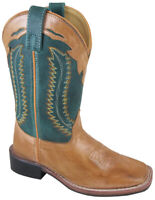 Smoky Mountain Childrens Clint Western Cowboy Boots Leather Square Toe Tan/Green