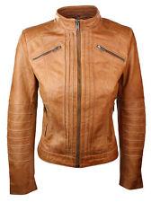 New Women Ladies Biker Brown Retro Stylish Genuine Real Leather Jacket