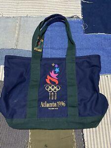 Atlanta 1996 Olympics Souvenir Shopping Canvas Tote bag Blue Green