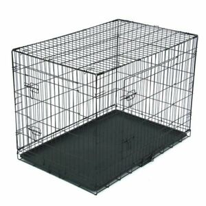 """42"""" Pet Kennel Cat Dog Folding Steel Crate Animal Playpen Wire Metal Cage Large"""