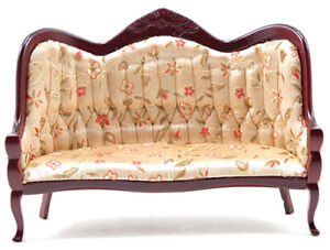 Miniature Dollhouse Victorian Sofa Mahogany With Floral Fabric 1:12 Scale New