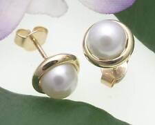 Mujer PENDIENTES ORO 333 verdaderos perlas de Agua Dulce 7,5mm amarillo