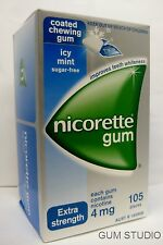 Nicorette Nicotine Gum 11 Boxes 4mg Coated ICY Mint 1155 Pcs Teeth Whitening