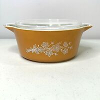 Vintage Pyrex Butterfly Gold 2 1/2 Qt Cinderella Casserole Dish Bowl 475-B w/Lid