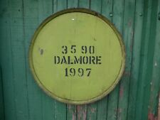 """Rare Green 1997 Dalmore Whisky Barrel Lid w/ end hoop ready to hang 25"""" wide"""