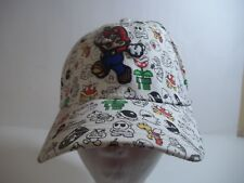 Super Mario Baseball Hat Cap Stretchfit OSFM White