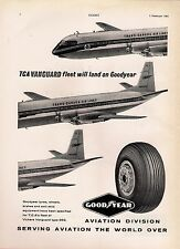 Magazine Advert ~ Goodyear Tyres - Trans Canada Airlines: Vickers Vanguard: 1961