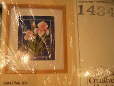 hum44 CREATIVE CIRCLE KIT #1434 PINK IRIS CREWEL EMBROIDERY KIT persian wools