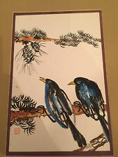 Japanese Chinese Stamped Watercolor Blue Bird Painting Finch Swallow