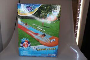 H20GO! 18ft Double Lane Slip N Slide Water Slide with Drench Pool