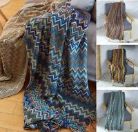 Bohemian Style Cotton Knitted Blanket Throw Tribal Ethnic Sofa Bedding Decor