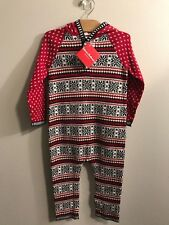 NWT HANNA ANDERSSON Snow Happy Hooded Fair Isle Sweater Romper Outfit Size 90 3T