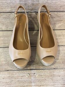 NEW Coach Tan Sling Back Canvas Espadrilles Wedge Shoes Sz. 9