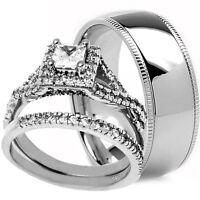 His Hers 3 PCS Mens TITANIUM & Womens STERLING SILVER MATCHING Wedding Rings Set
