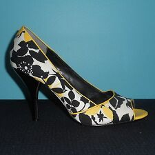 "NINE WEST Floral & Black Patent Leather Open Toe 4"" High Heels Pumps Size 8"