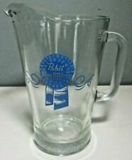 "Euc Pabst ""Blue Ribbon Beer"" Heavy Clear Glass 60 oz. Pitcher"