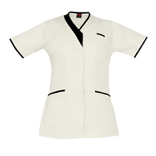 Medical Scrubs Uniform Nurse PIPING V-NECK Hospital Scrubs White Medical Tunic