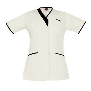 Medical Scrubs Uniform Nurse PIPING V-NECK Hospital Scrubs White Medical Tunic
